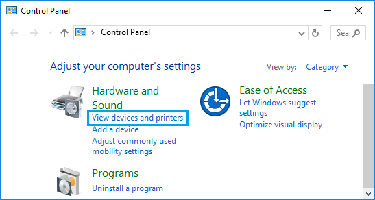 View Devices and Printers Option in Windows 10 Control Panel