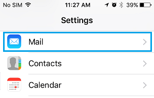 Mail Tab On iPhone Settings Screen