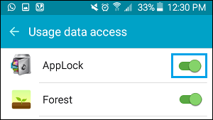 Allow AppLock Usage Access on Android Phone
