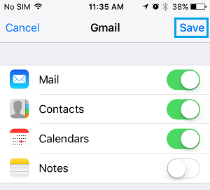 Enable Mail, Contacts, Calendars and Notes For Email Account on iPhone