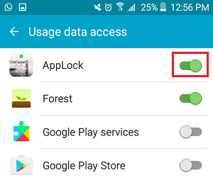 Enable Usage Data Access for App Lock