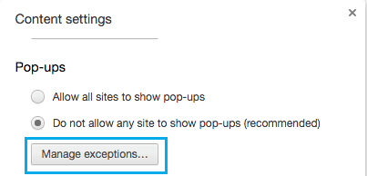 Manage Exceptions For Pop-ups in Chrome Browser