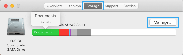 Manage Storage Option on Mac