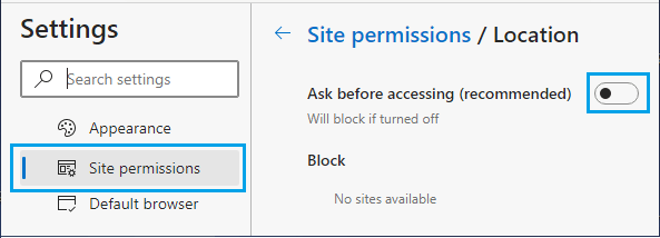 Stop Websites From Tracking Location on Microsoft Edge Browser