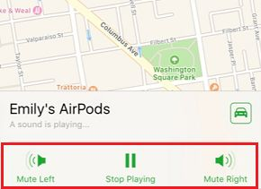 Mute Left and Right Option in Find My AirPods Service