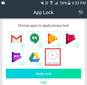 Plus Button in App Lock App on Android