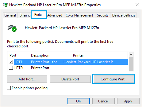 Ports Tab of Printer Properties Screen in Windows 10