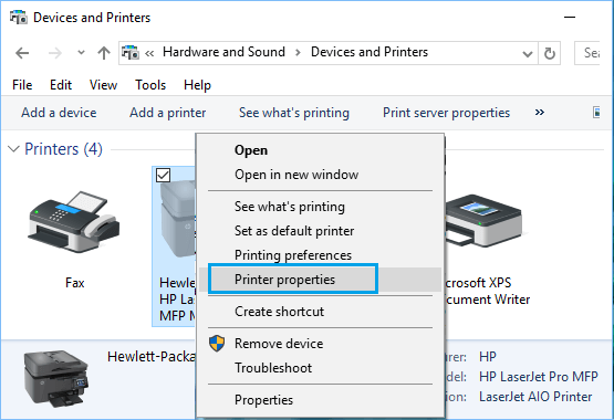 Printer Properties Option in Windows 10 Devices and Printers Screen