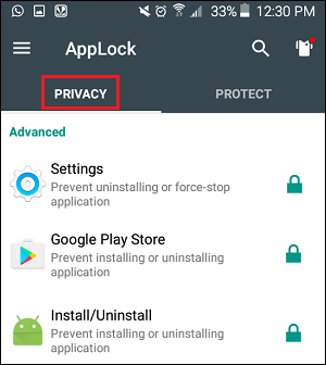 Privacy Tab in AppLock App on Android Phone