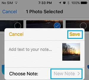 Choose Note Option in Notes App on iPhone