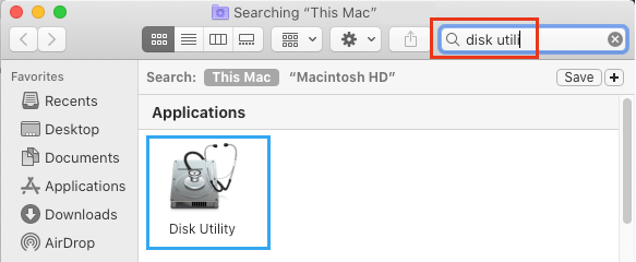 Open Disk Utility Using Search on Mac