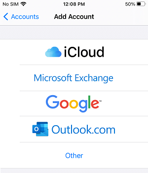 Select Email Service Provider on iPhone
