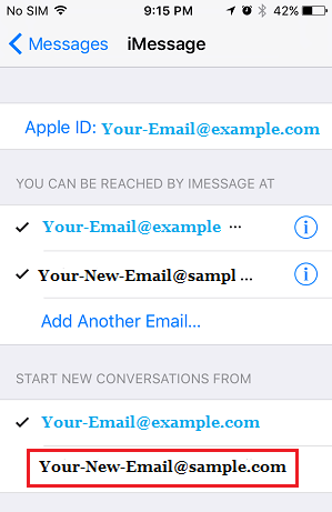 Start Conversation From Email Address on iPhone Messages App