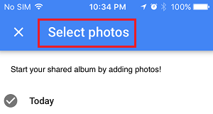 Select Photos Prompt in Google Photos