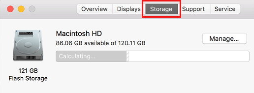 Storage Tab on About This Mac Screen