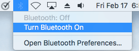 Turn ON Bluetooth on Mac
