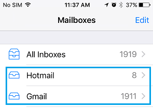 Emails Synced to Mail App on iPhone