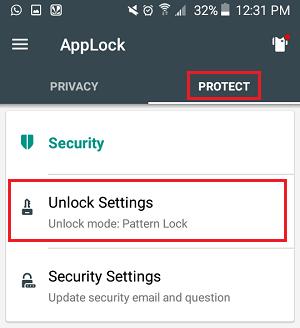 Unlock Settings Tab in AppLock App on Android