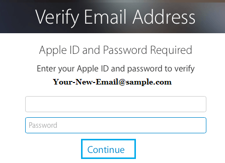 Verify New Email Address Using Apple ID