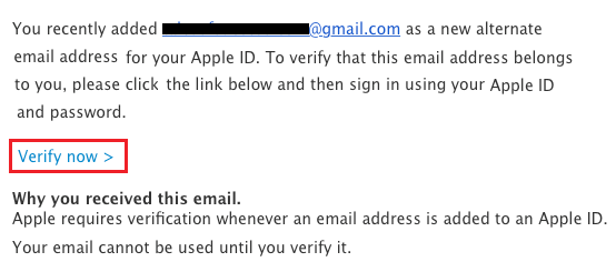 Verify Now Link in Verification Email From Apple