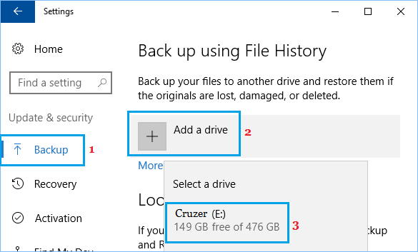 Add Drive For Windows File History Backup