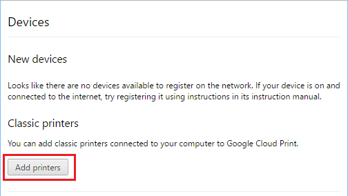 Add Printers Option in Google Cloud Printing