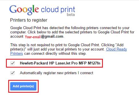 Add Selected Printers to Google Cloud Print