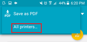 All Printers Option On Android Phone