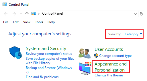 Appearance and Personalization Option in Control Panel Windows 10