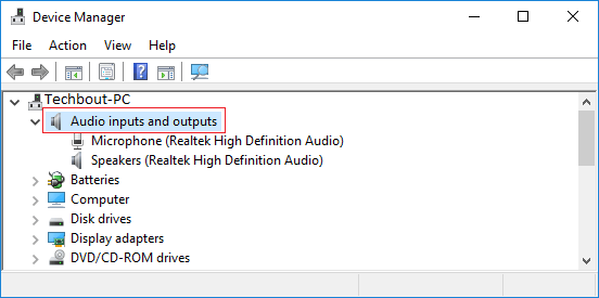 Audio inputs and Outputs Entry on Device Manager Screen in Windows 10