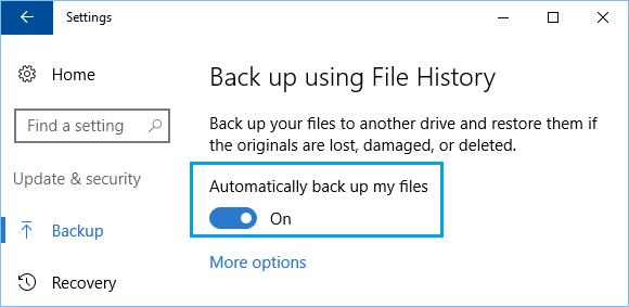 Automatically Backup My Files Option in Windows 10