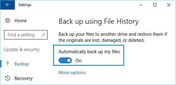 Enable File History Backup