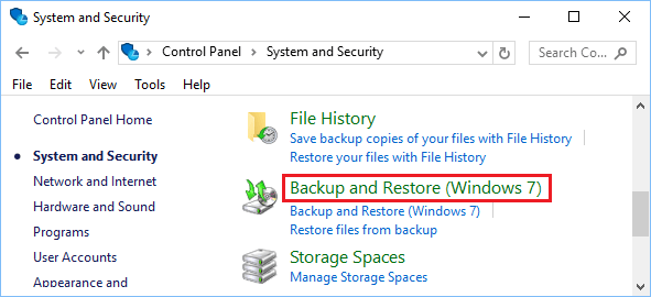 Backup and Restore Option in Windows 10 Control Panel