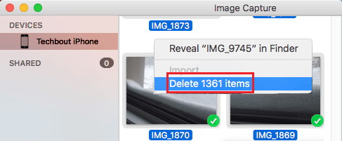 Bulk Delete iPhone Photos Using Image Capture App on Mac