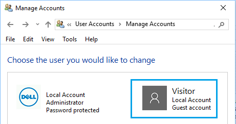 Select The User Account to Delete in Windows 10