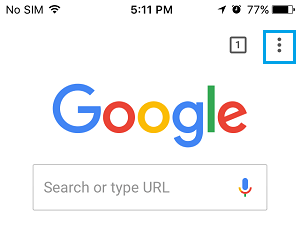 3-dots Menu Icon in Google Chrome Browser On iPhone