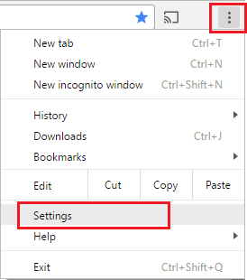 Menu Icon and Settings Option in Chrome