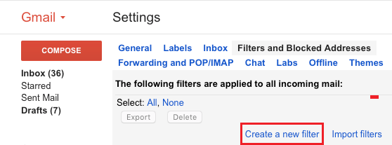 Create New Filter Option in Gmail