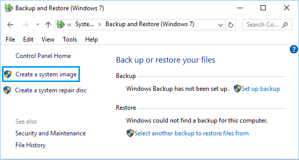 Create a System Image Using Backup and Restore in Windows 10