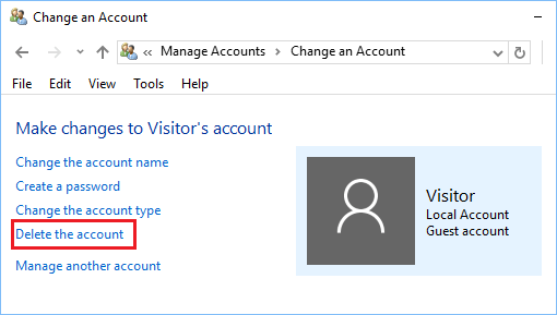 Delete Guest or Visitor User Account in Windows 10