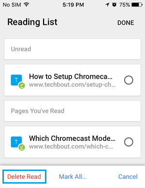 Delete Read Articles From Reading List on iPhone Chrome Browser