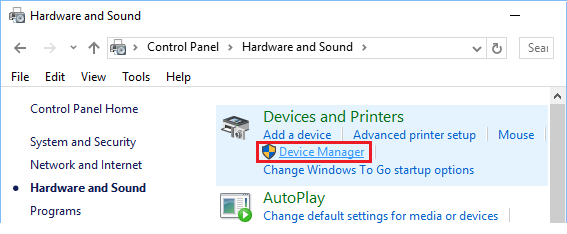 Device Manager Option in Control Panel Windows 10