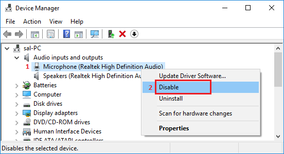Disable Microphone In Windows 10 Using Device Manager