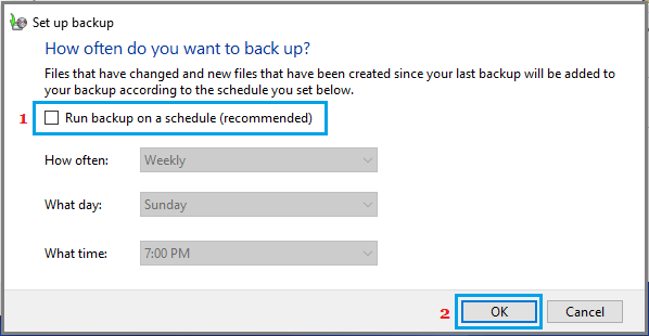 Disable Scheduled Backups