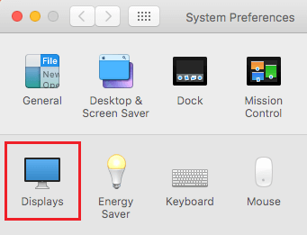 Displays Settings Option on Mac
