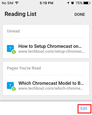 Edit Reading List on iPhone Chrome Browser