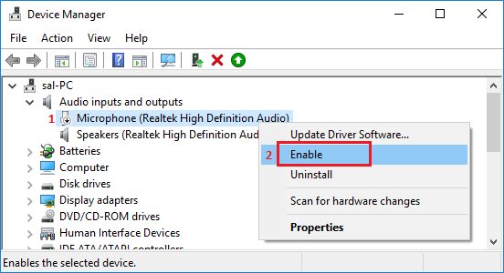 Enable Microphone in Windows 10 Using Device Manager