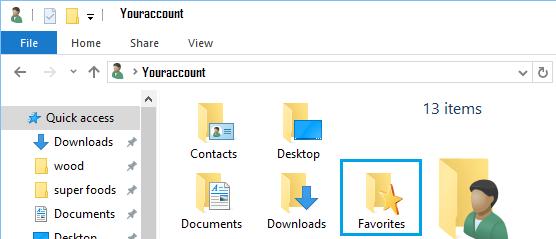 Internet Explorer Favorites Folder in Windows 10