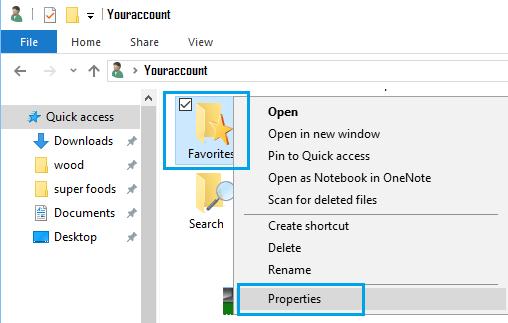 Check Properties of Favorites Folder in Windows 10