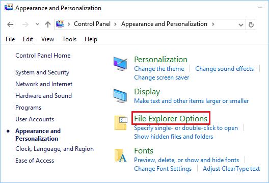 File Explorer Option in Control Panel Windows 10